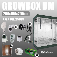 Complete Kit: Growbox DiamondRoom 200x100x200cm + 4 x CFL 250W