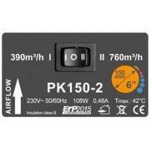 Prima Klima fi-150mm, 390-760 m³/h, wentylator promieniowy, 2-biegowy