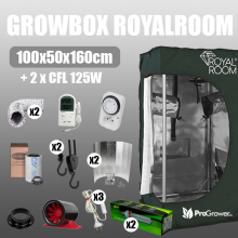 Complete Kit: Growbox RoyalRoom 100x50x160cm + 2 x CFL 125W