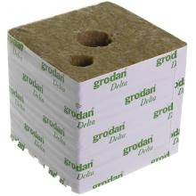 GRODAN 15x15x14.2cm, kostka z wełny mineralnej, otworami 25mm i 40mm, 1 szt.