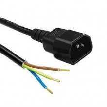 Power cord with IEC C14 plug, male, 3x1.5mm, length 3m