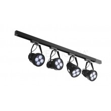 Lighting set VERTICANA 4x bulb + holder + rail, black, 45 ° lens