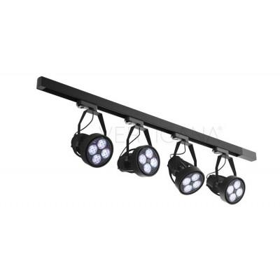 Lighting set VERTICANA 4x bulb + holder + rail, black, 45 ° lens