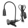 Black E27 socket with a clip, switch and 1.3 m cable