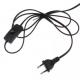 Black double E27 socket with a clip, switch and 1.3 m cable