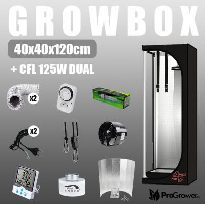 Complete Kit: Growbox 40x40x120cm + CFL 125W Dual
