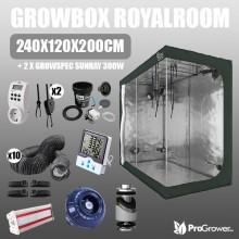 Zestaw do uprawy: Growbox RoyalRoom 240x120x200cm + 2 x  Growspec Sunray 300W