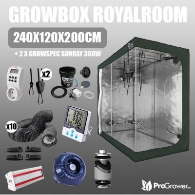Complete Kit: Growbox RoyalRoom 240x120x200cm + 2 x  Growspec Sunray 300W