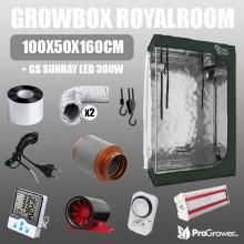 Komplettset: Growbox RoyalRoom 100x50x160cm + GS Sunray LED 300W