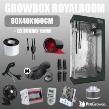 Komplettset: Growbox RoyalRoom 80x40x160cm + GS Sunray 150W
