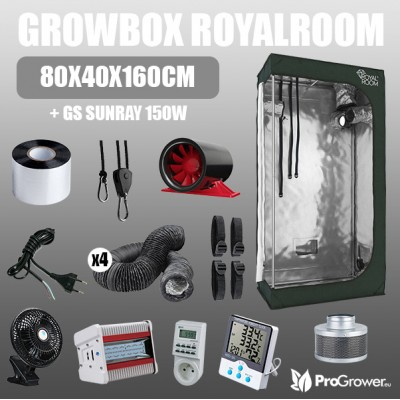Complete Kit: Growbox RoyalRoom 80x40x160cm + GS Sunray 150W