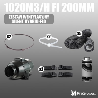 Ventilation Kit SILENT HYBRID-FLO 1020m3/h fi 200mm