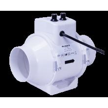 Wentylator kanałowy 2-biegowy 145-187m3/h, fi 100mm - z regulacją temperatury  i obrotów