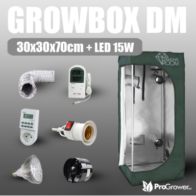 Complete Kit: Growbox DM 30x30x70cm + LED 15W