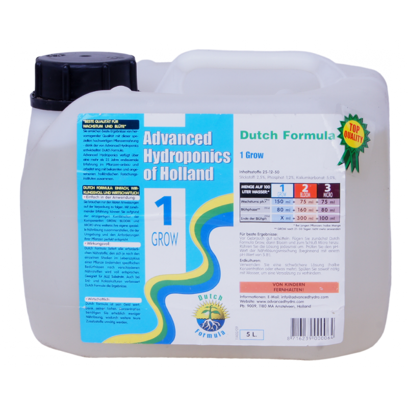 Advanced Hydroponics of Holland DUTCH FORMULA 1 GROW 5L - ProGrower
